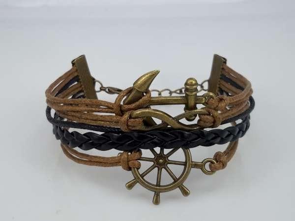 Armband, lichtbruin, zwarte vlecht, anker, scheepsstuur, krul