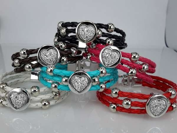 Armband, 3-delig gevlochten, metaalkleurige kralen