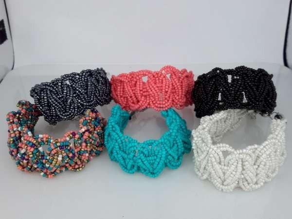 Bohemien style handgemaakte gevlochten kralen armband, per 3 stuks