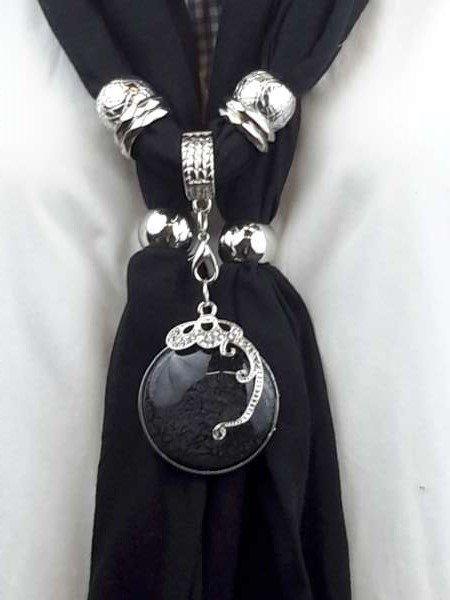 Sjaal + Aderen des Leven zwart ronde hanger, strass