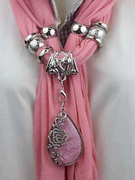 Sjaal + Aderen des Leven roze druppel hanger, strass