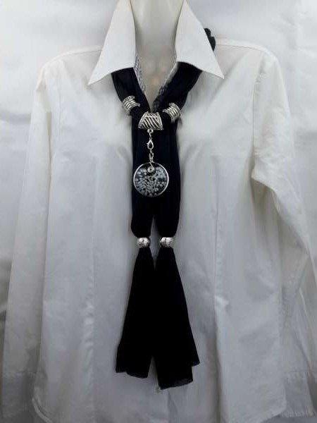 Sjaal + ronde murano hanger, kiezel