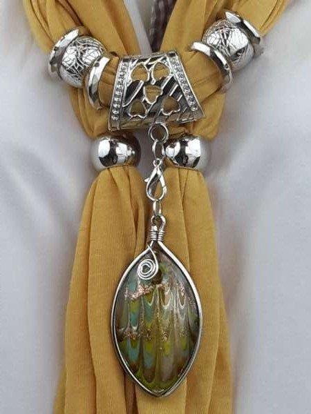Sjaal + ovale murano, multi kleurig
