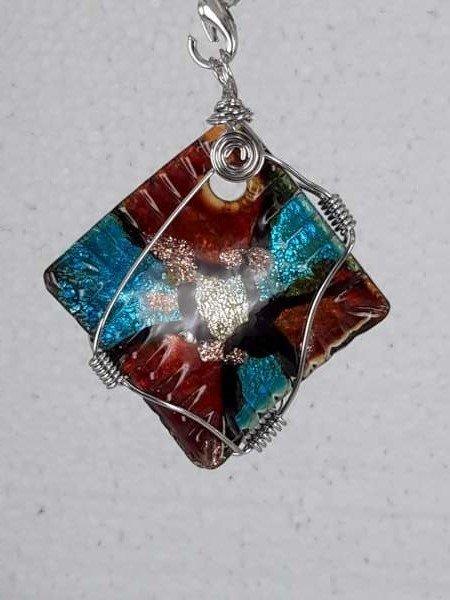 Muranohanger, vierkant, meerkleurig, goudschilvers