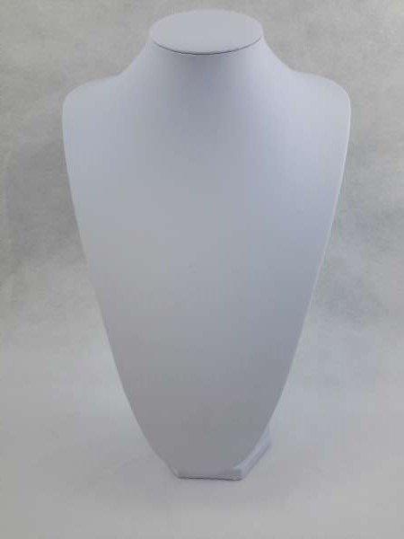 Halsje, wit imitatieleder, 36 cm