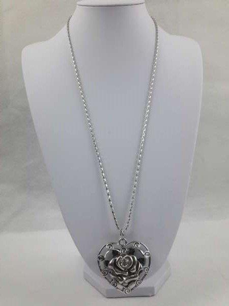 Zilverkleur ketting metaal, hart met roosje en zirkonia (tweekanten draagbaar)