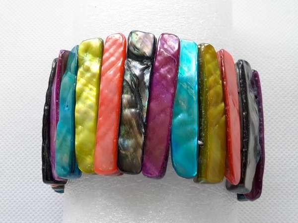 Schelp armband multi kleur.