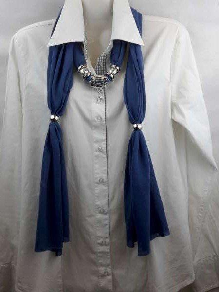 Sjaal met mix koppelstuk en ringen kleur: marineblauw.