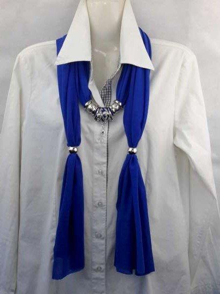 Sjaal met mix koppelstuk en ringen kleur: kobalt blauw.