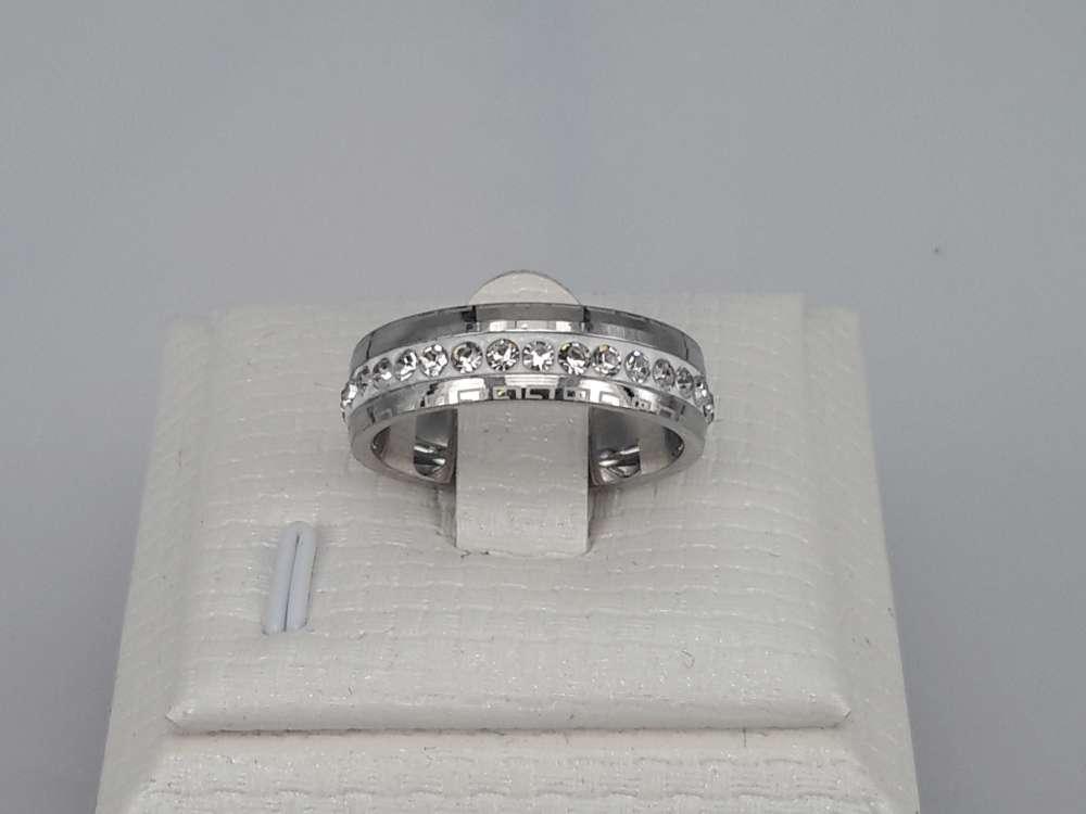 Edelstaal Ringen, strass wit, motief, doos 36 st