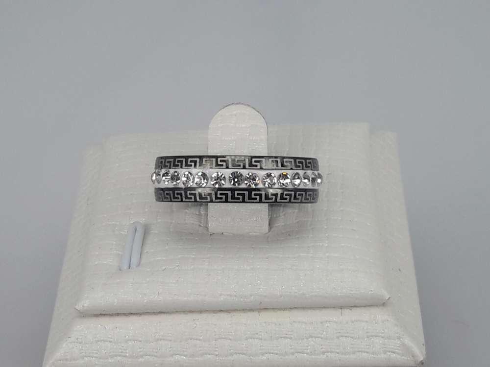 Edelstaal Ringen zwart, strass wit, motief, doos 36 st