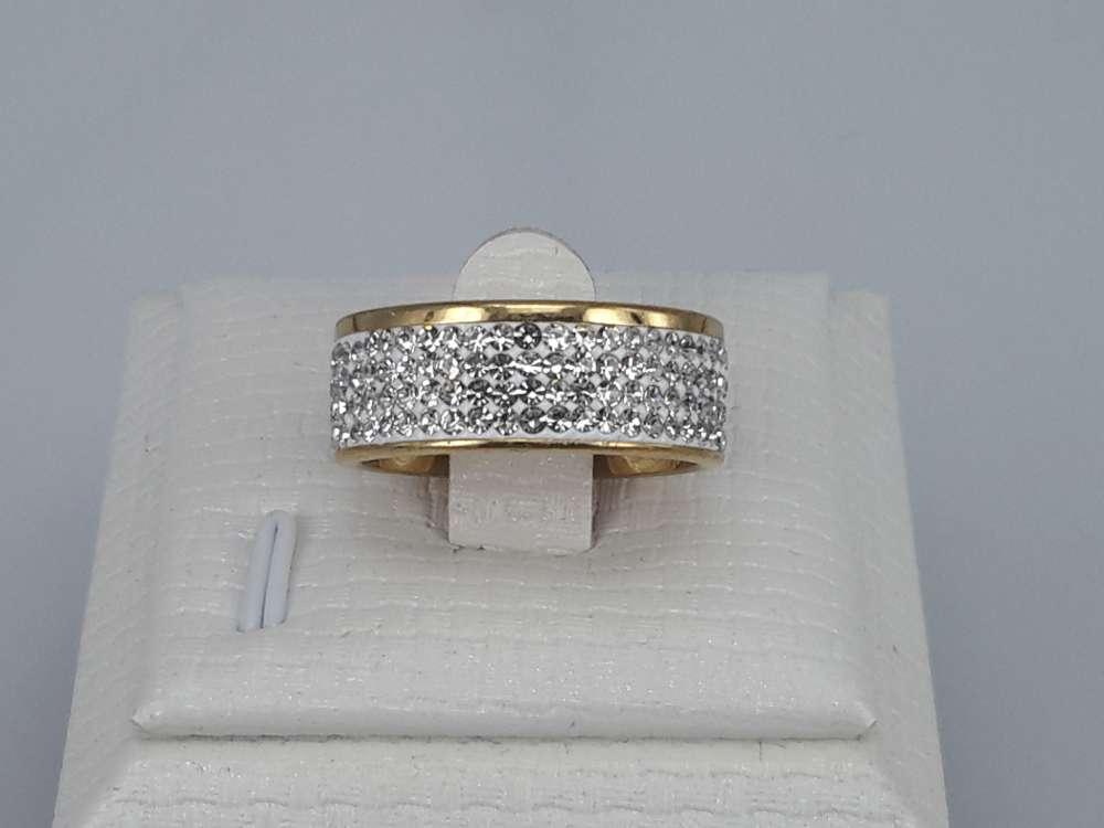 Edelstaal Ringen goudkl, 4 strass rijen, wit, doos 36 st