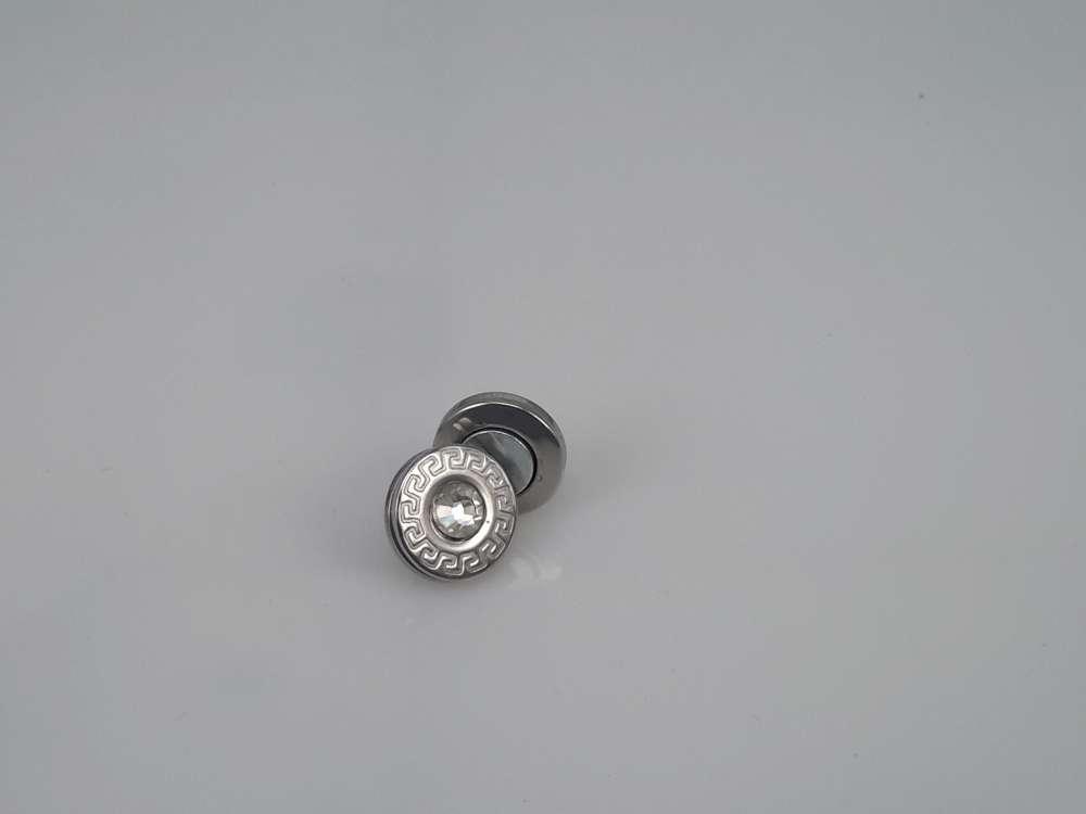 Edelstaal Oormagneet, 12mm rond, kristalglas, motief