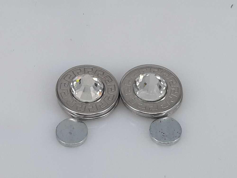 Edelstaal Oormagneet, 14mm rond, kristalglas, motief