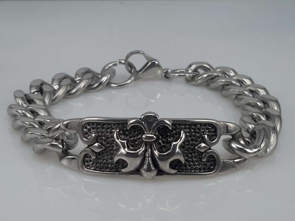 Edelstaal Armband, Gotisch, ketting, boog Lelie motief, zwart