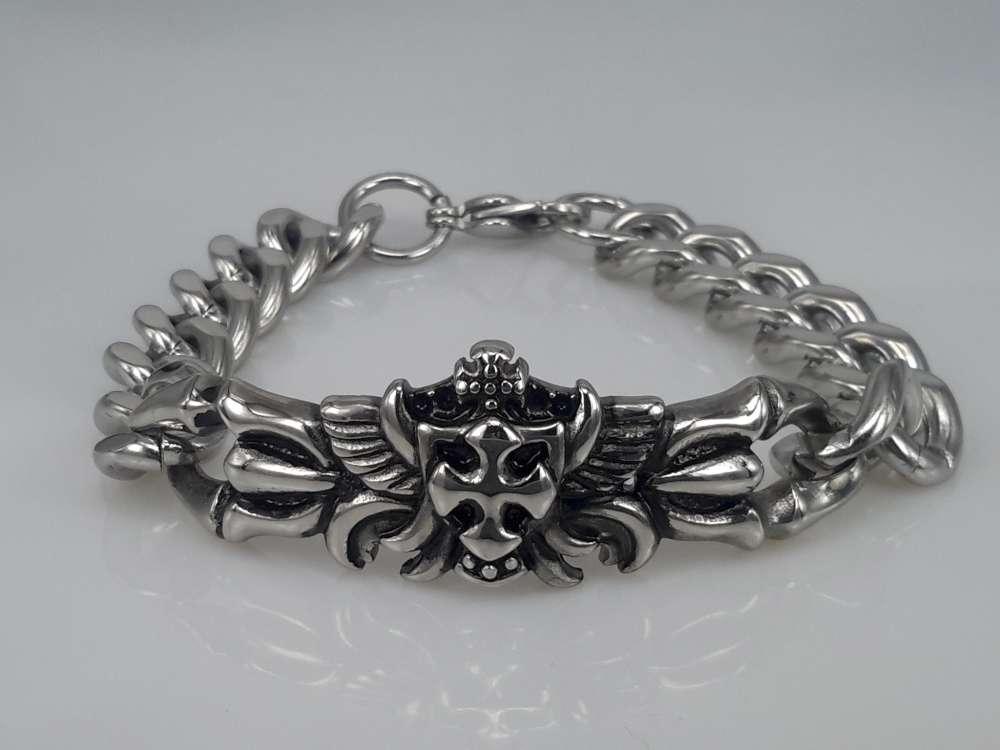 Edelstaal Armband, Gotisch, ketting, kruisschild