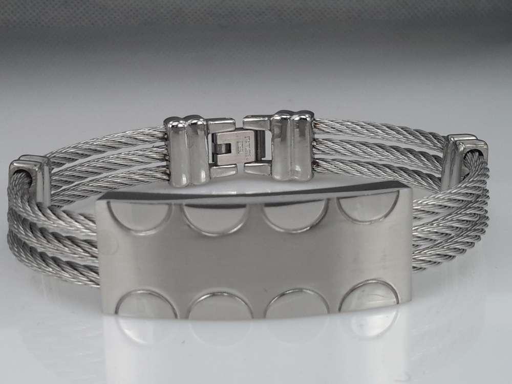 Edelstaal Armband 3 kabel, plaat, halve kring motief