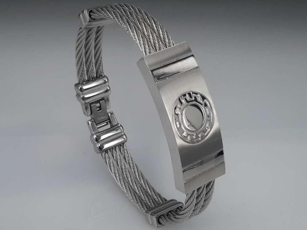 Edelstaal Armband 3 kabel, plaat, tandwiel motief