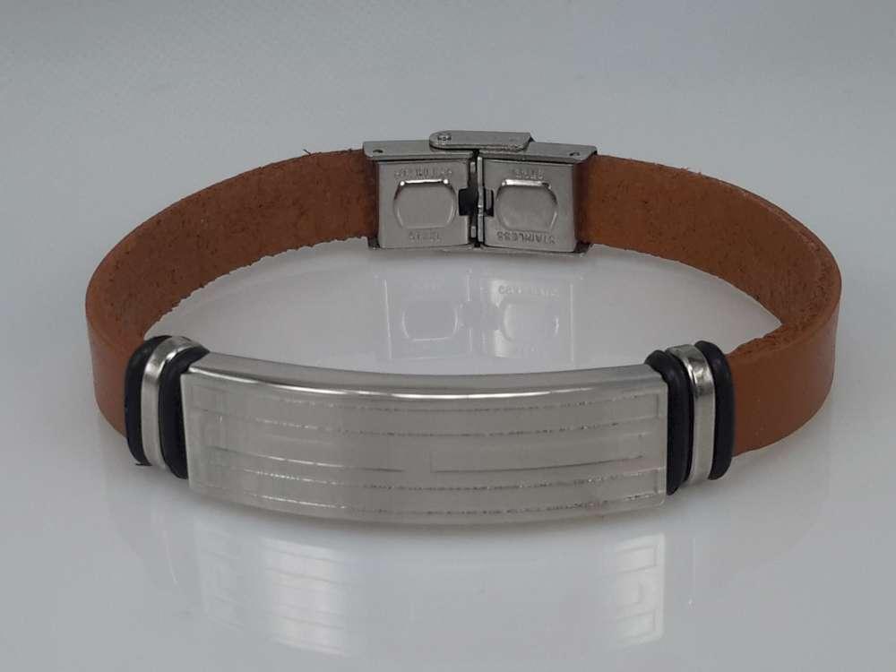 Leren armband cognackleur, plaat + rechthoek gravure, sluiting edelstaal