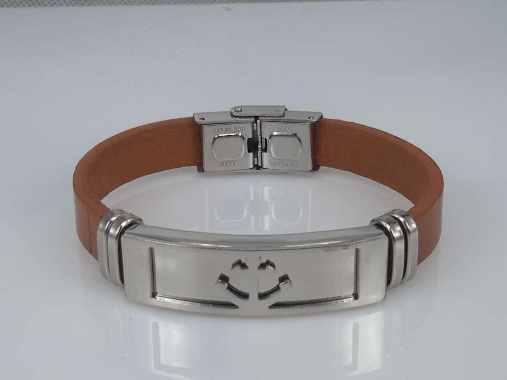 Leren armband lichtbruin, plaat + anker, sluiting edelstaal