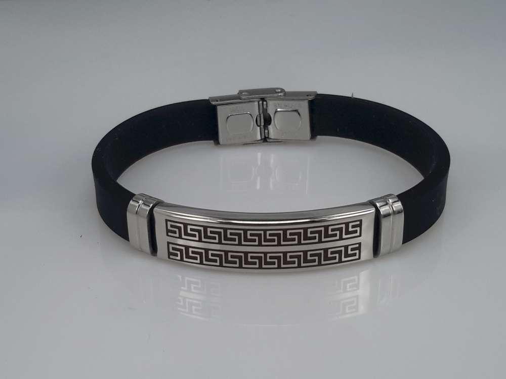 Armband zwart, gebogen plaat, motief, sluiting edelstaal