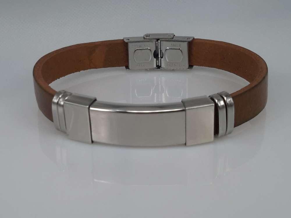 Leren armband bruin, graveerplaat in houder, edelstaalsluiting