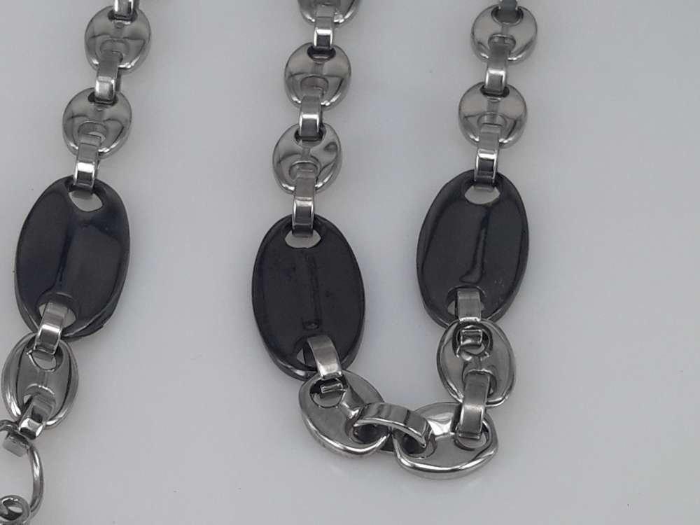Edelstaal Konings- Armband & Ketting, koffiebonen, lange zwarte boon