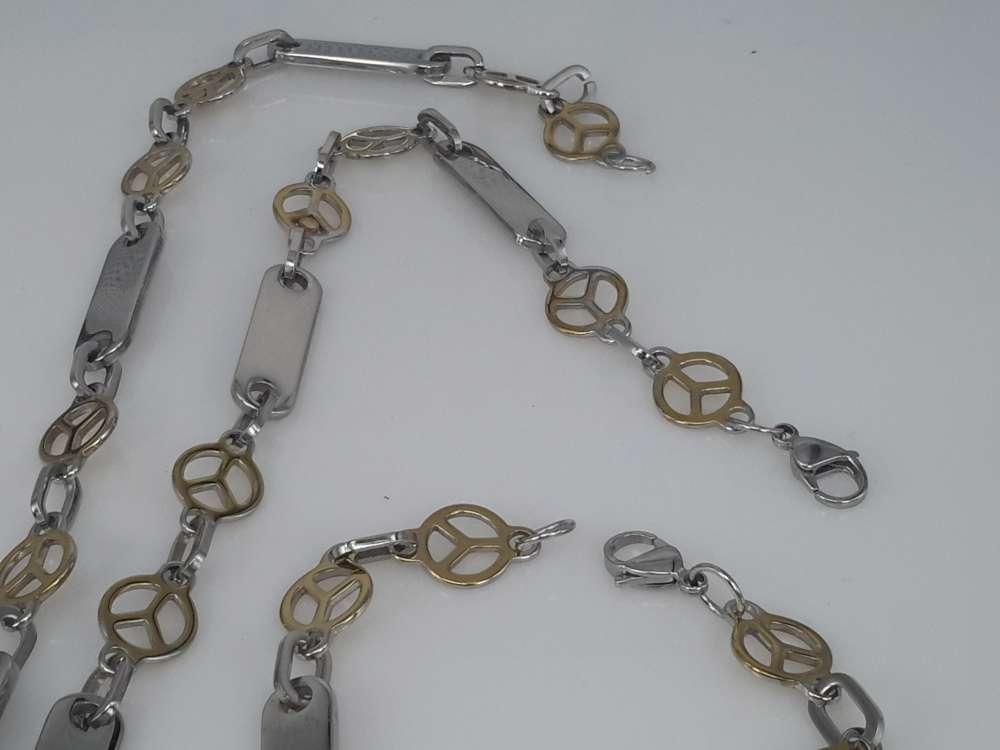 Edelstaal Konings- Armband & Ketting, plaat, ring, goudkl vrede teken