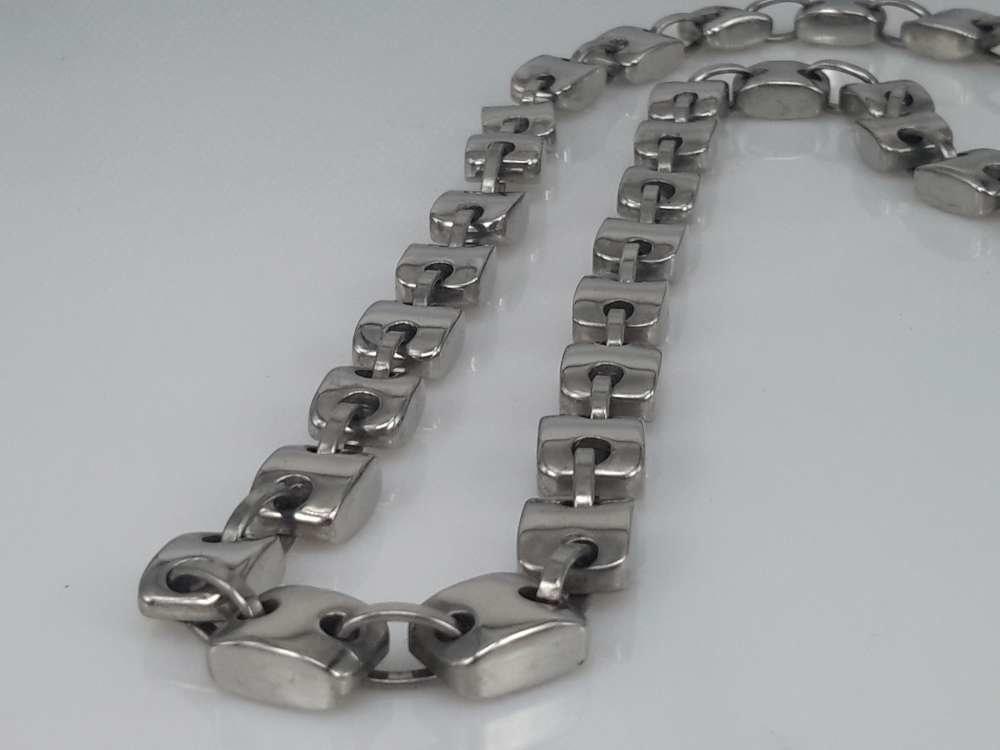 Edelstaal Konings- Armband & Ketting, vierkante knoop, ovale ring