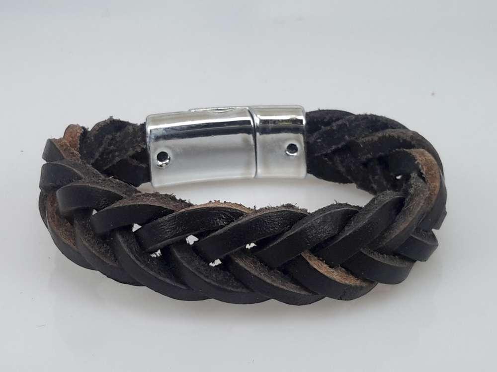 Leren Armband zwart, kinderen, gevlochten, magneetsluiting