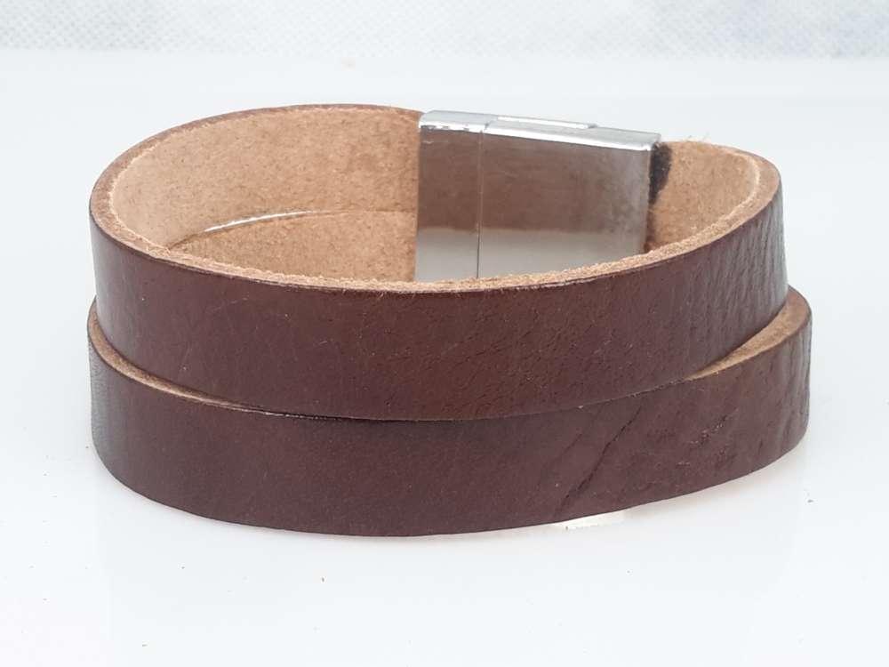Leren Armband bruin, 2 baans, glad, magneetsluiting