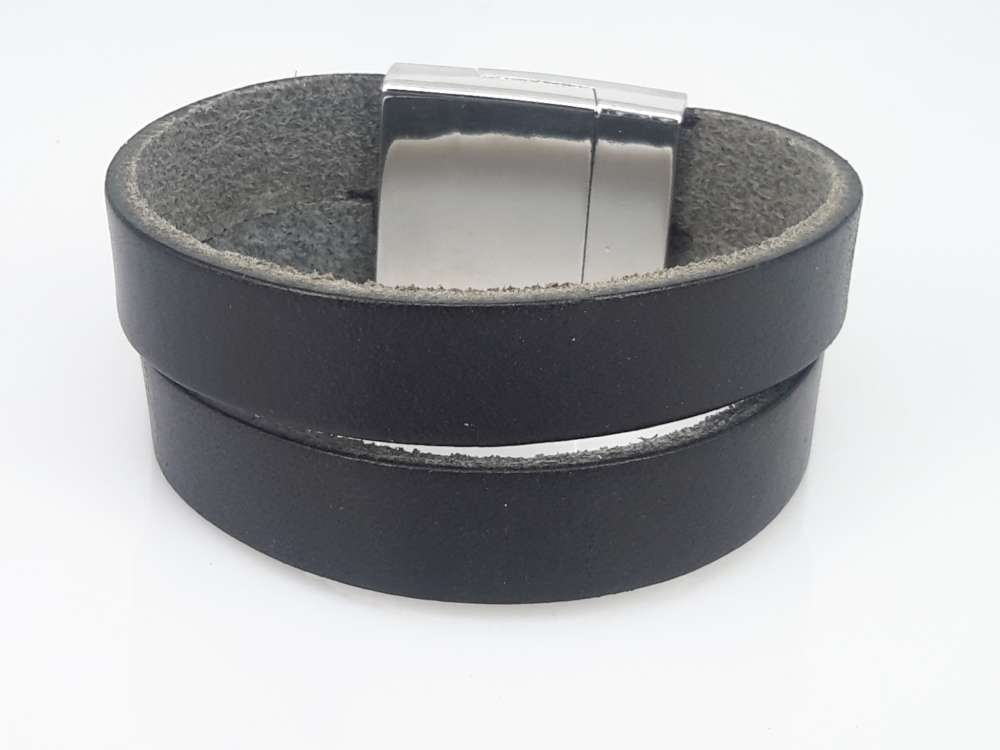 Leren Armband zwart, 2 baans, glad, magneetsluiting