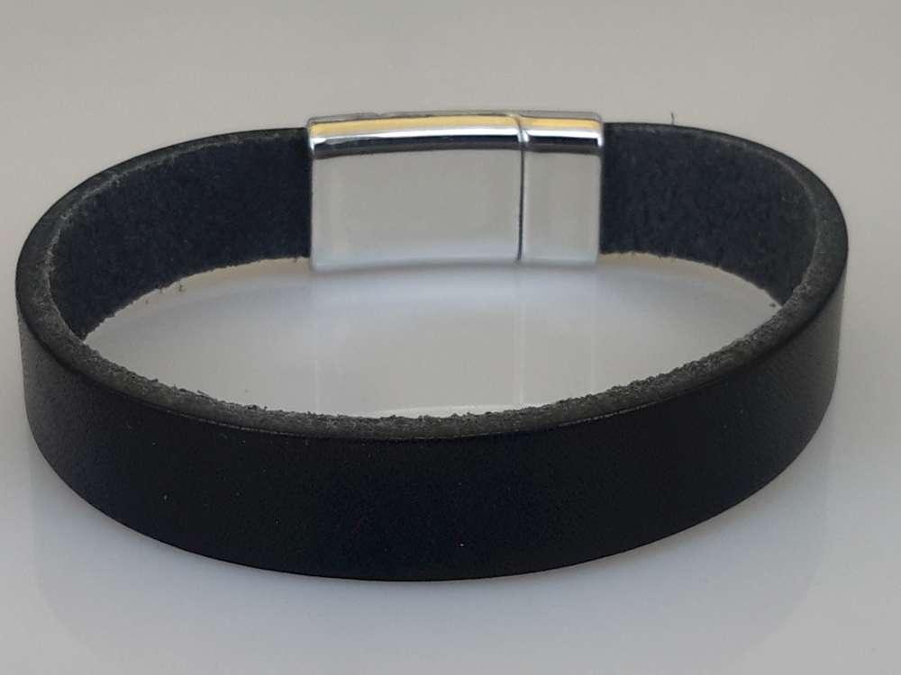 Glad leren Armband, zwart, smal, magneetsluiting