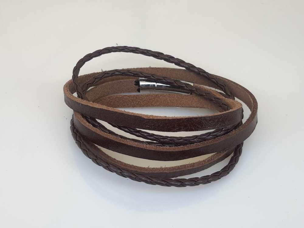Leren 3 wrap Armband, glad & vlecht, bruin of zwart