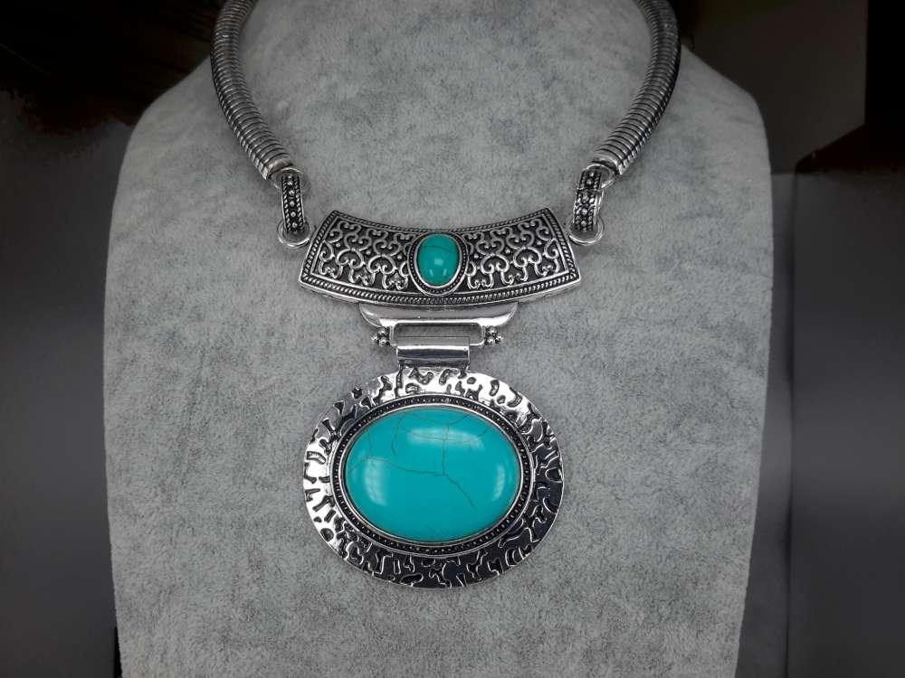 Ketting, Howliet edelsteen ovaal, turquoise