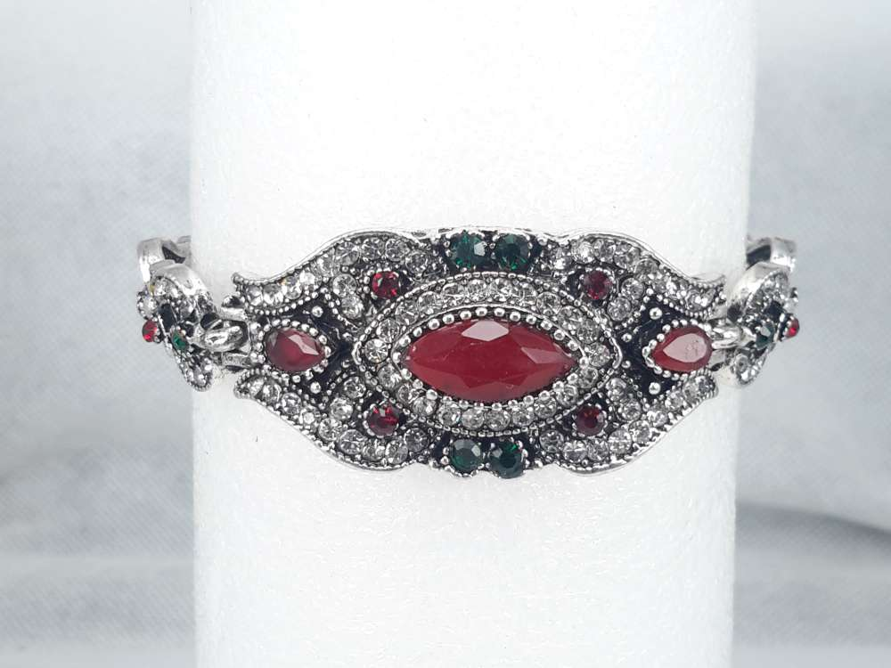 Armband India, rood kristal, strass
