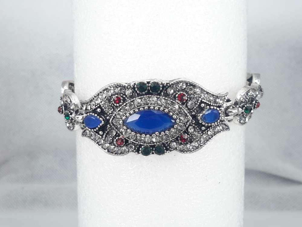 Armband India, blauw kristal, strass