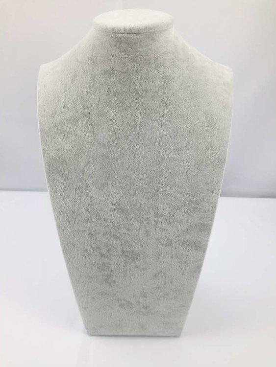 Luxe velours halsbuste, licht grijs