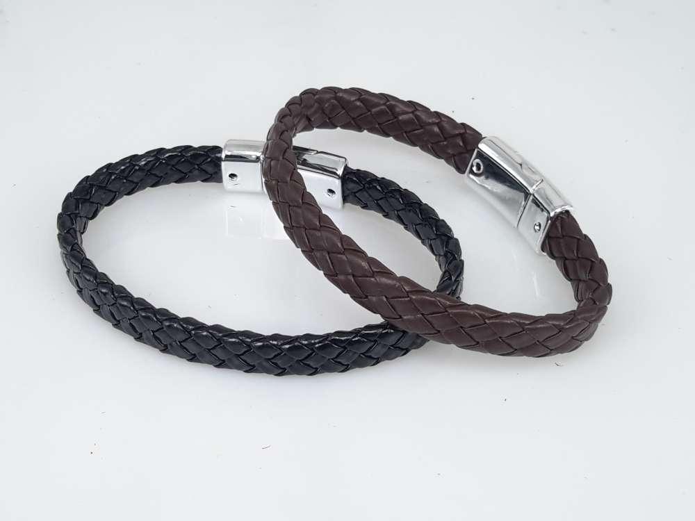 PU Leren Armband, smal, gevlochten, zwart
