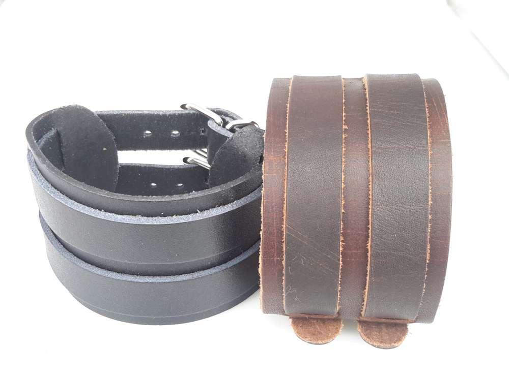 Brede Leren Riemarmband, gespsluiting, bruin of zwart