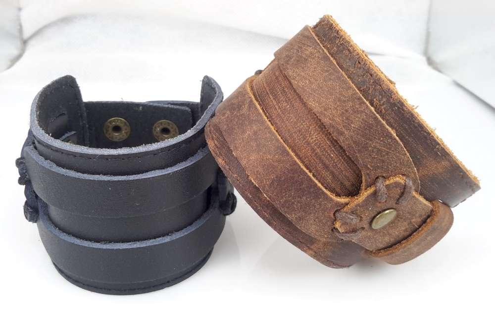 Brede Leren Riemarmband, gespsluiting, westernbruin of zwart