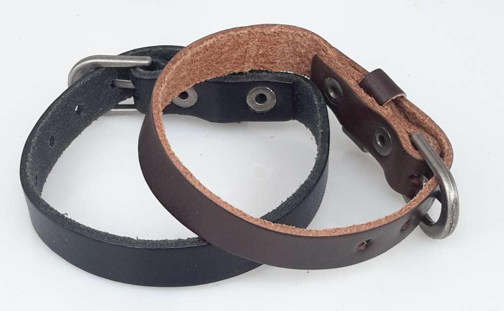 Leren Armband, smal, glad, gesp, bruin of zwart, per 3