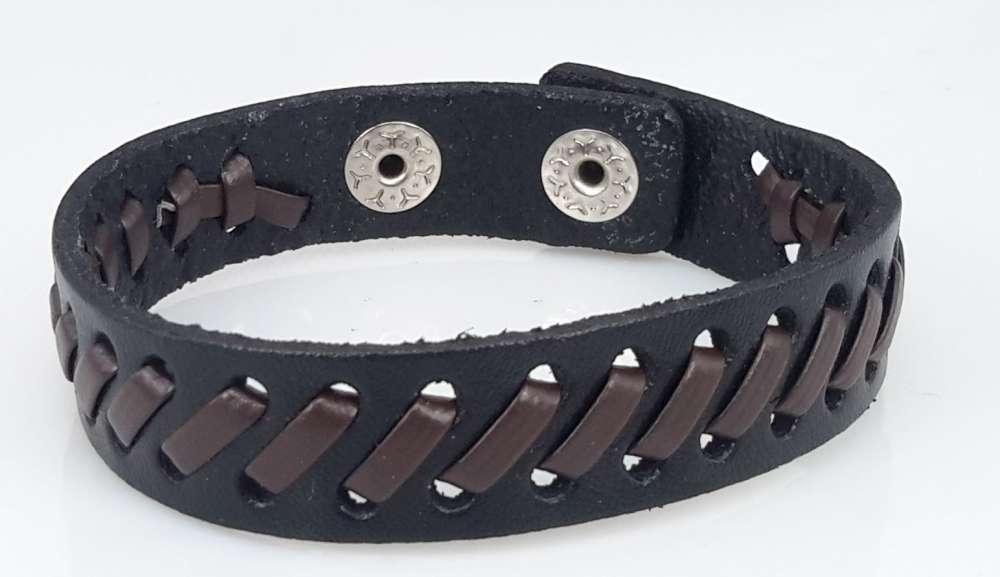 Leren armband, glad, /-vlecht, zwart