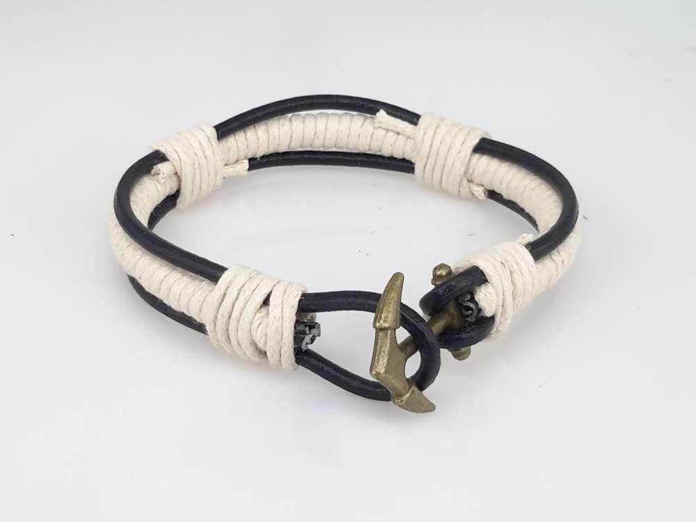Leren veter armband, zwart, touw wit, anker