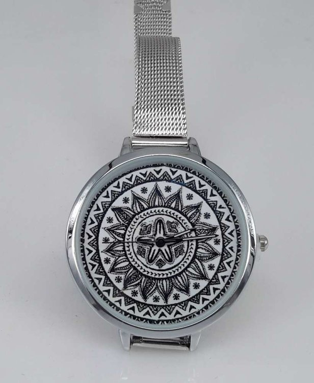 Mandala, horloge met edelstalen band