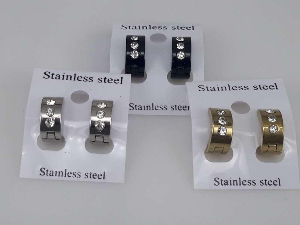 Edelstaal oorringen, kliksysteem, 3 strasssteentjes, rvskl, goud, zwart