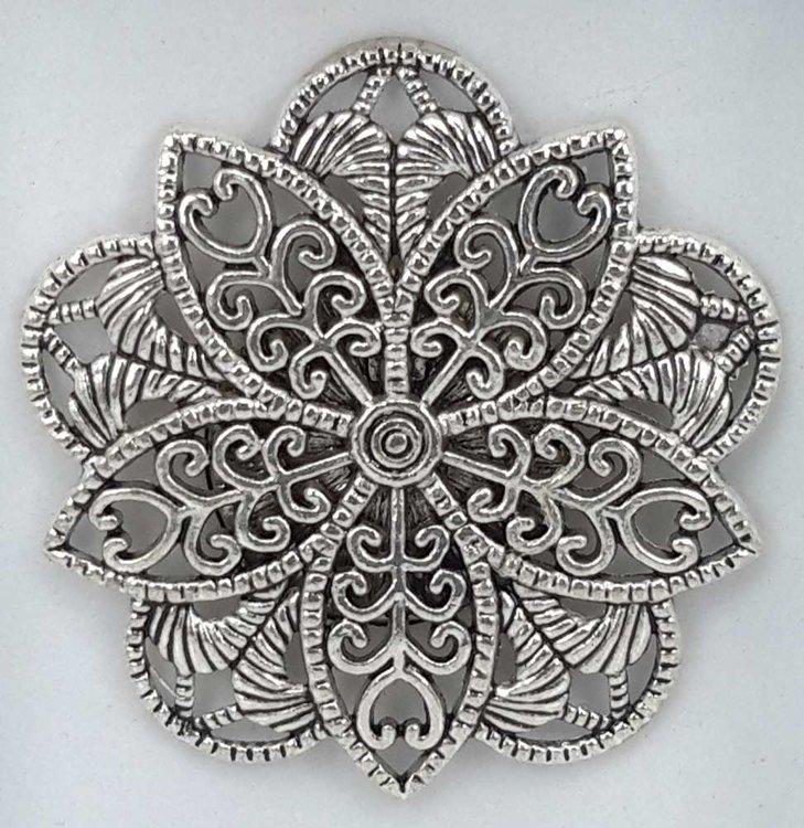 Magneet Broche, fijne vijfhoekig geraamte in metaal kleur.