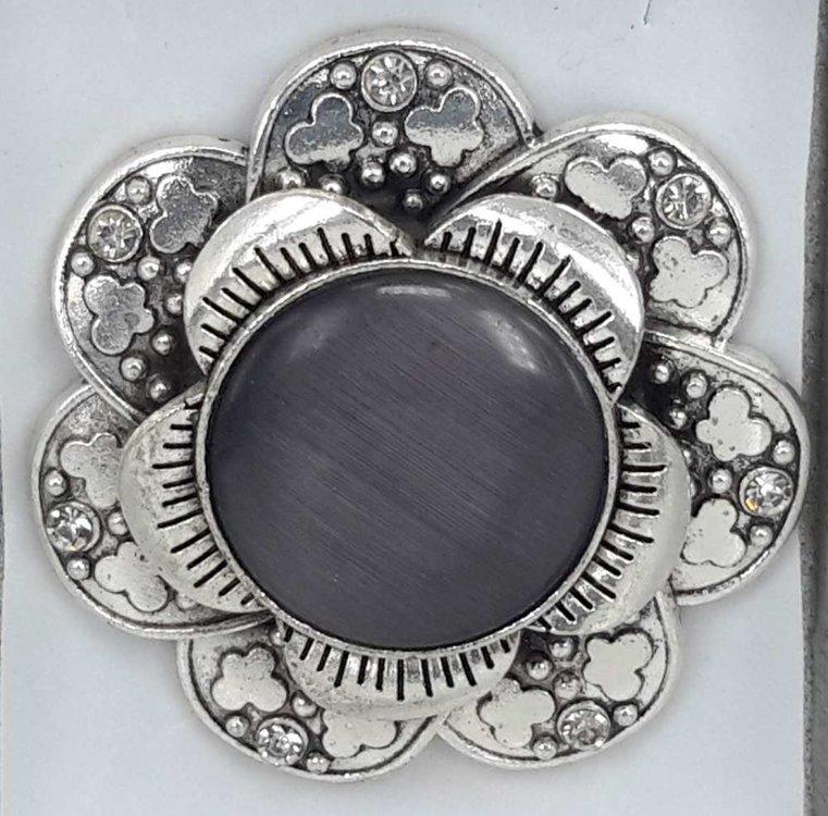 Magneet Broche, metaal, vlinderbloem, zwart kattenoog, strass