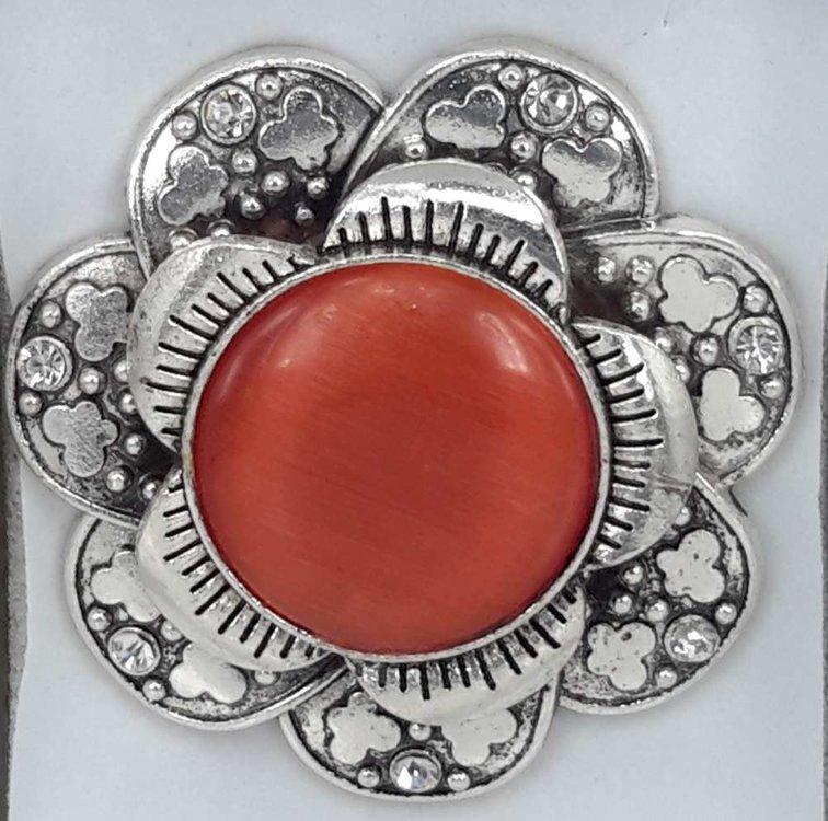 Magneet Broche, metaal, vlinderbloem, rood kattenoog, strass