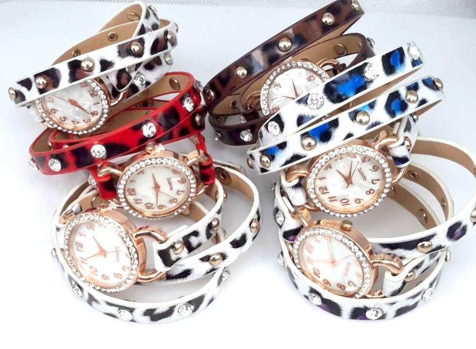 Armbandhorloge, PU leren wrap (3 ), rosékleur klok, strass, panterprint, 6 kleuren